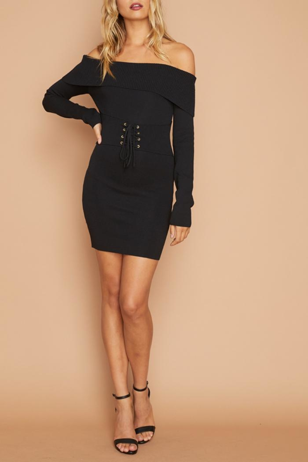 MINKPINK Corset Knit Dress - Front Full Image