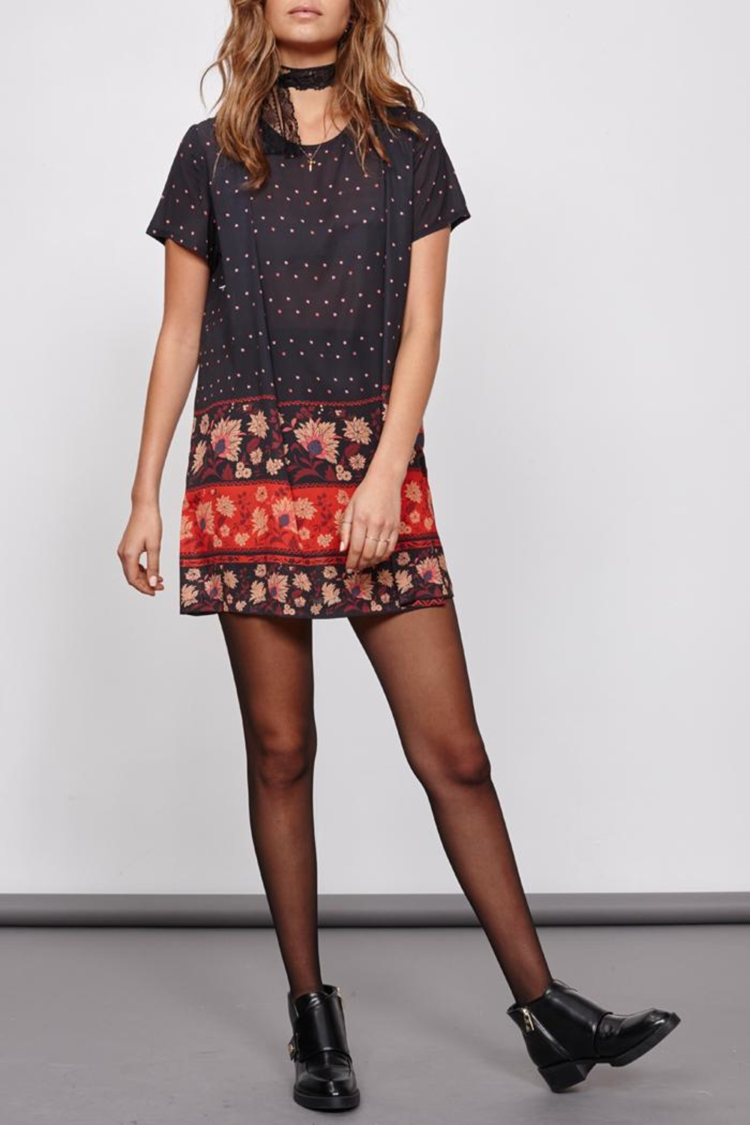 MinkPink Fallen T-Shirt Dress - Back Cropped Image
