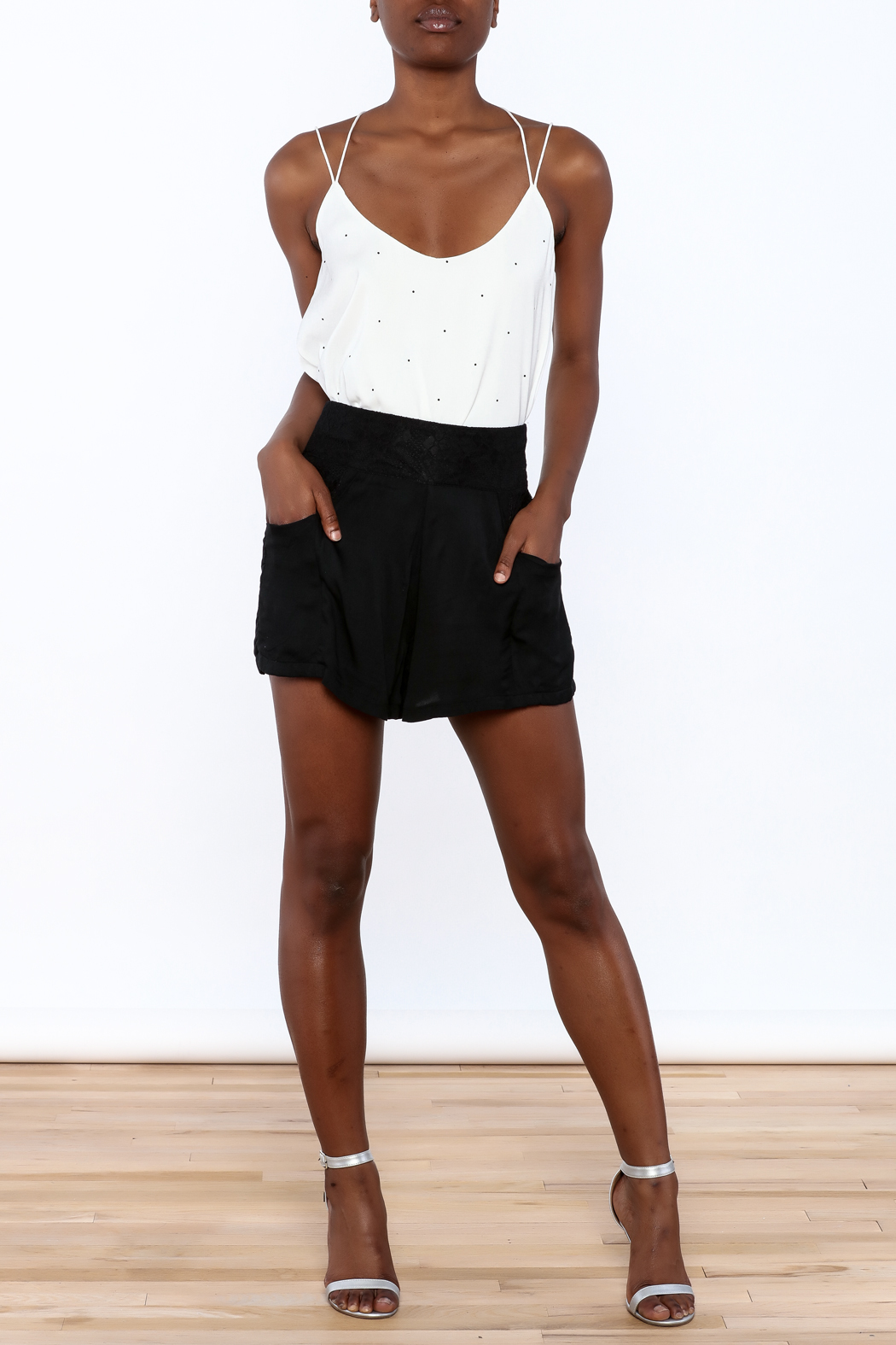 MINKPINK Flared High Waist Shorts - Front Full Image