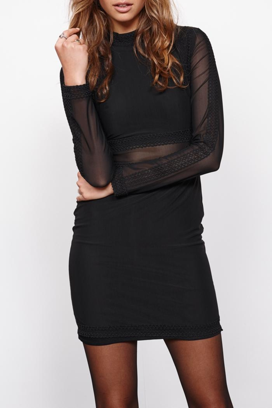 MinkPink Ladykiller Mesh Dress - Front Full Image