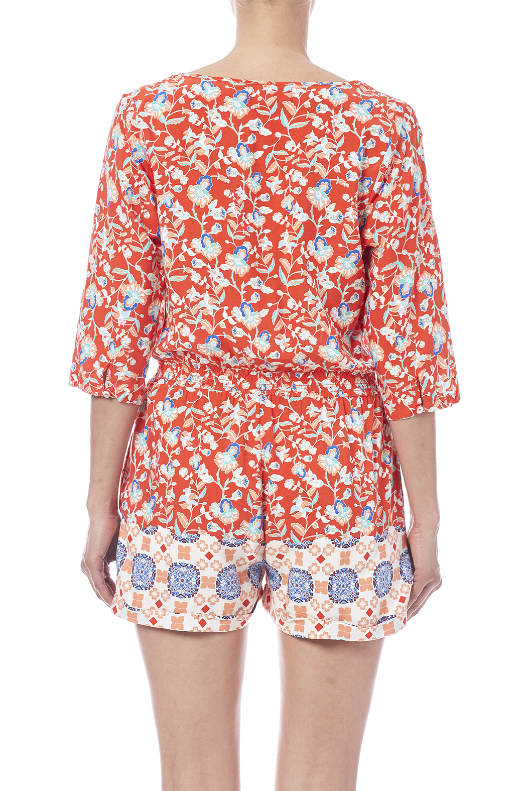 MinkPink Neighborhood Floral Romper - Back Cropped Image