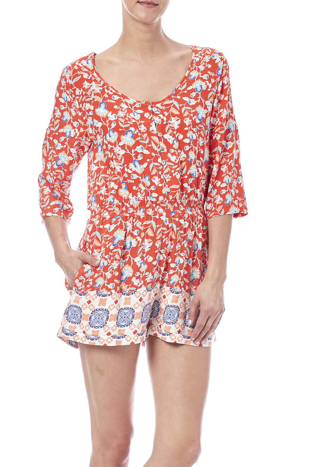 MinkPink Neighborhood Floral Romper - Front Cropped Image