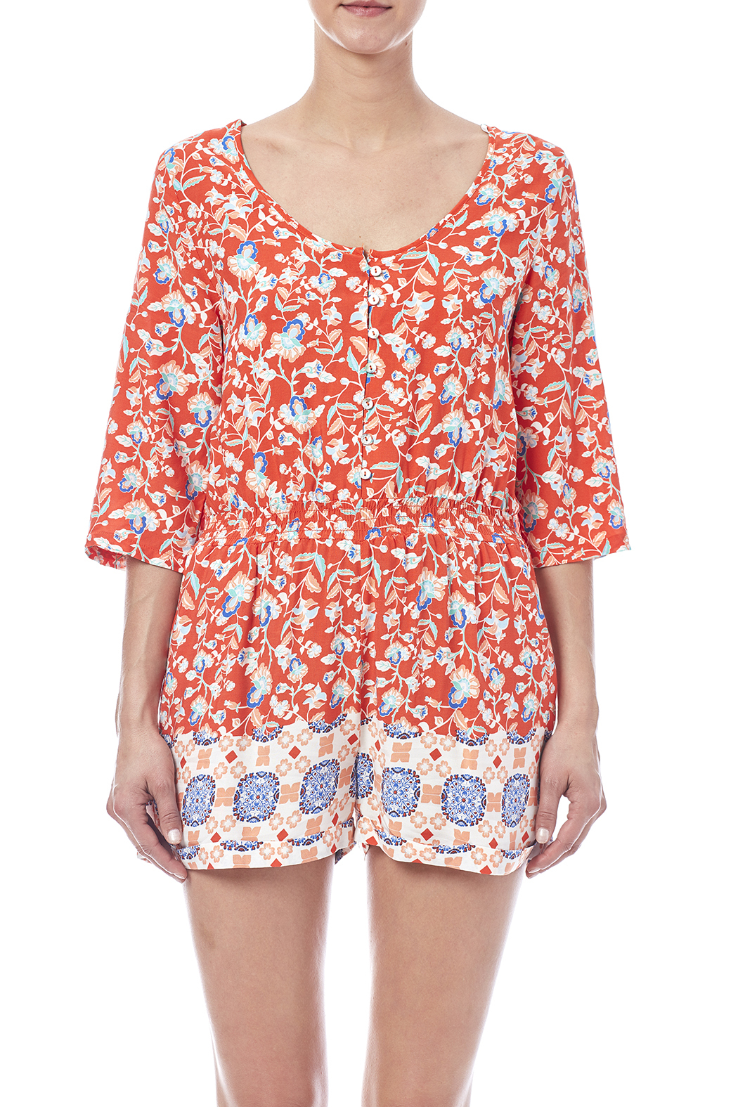 MinkPink Neighborhood Floral Romper - Side Cropped Image