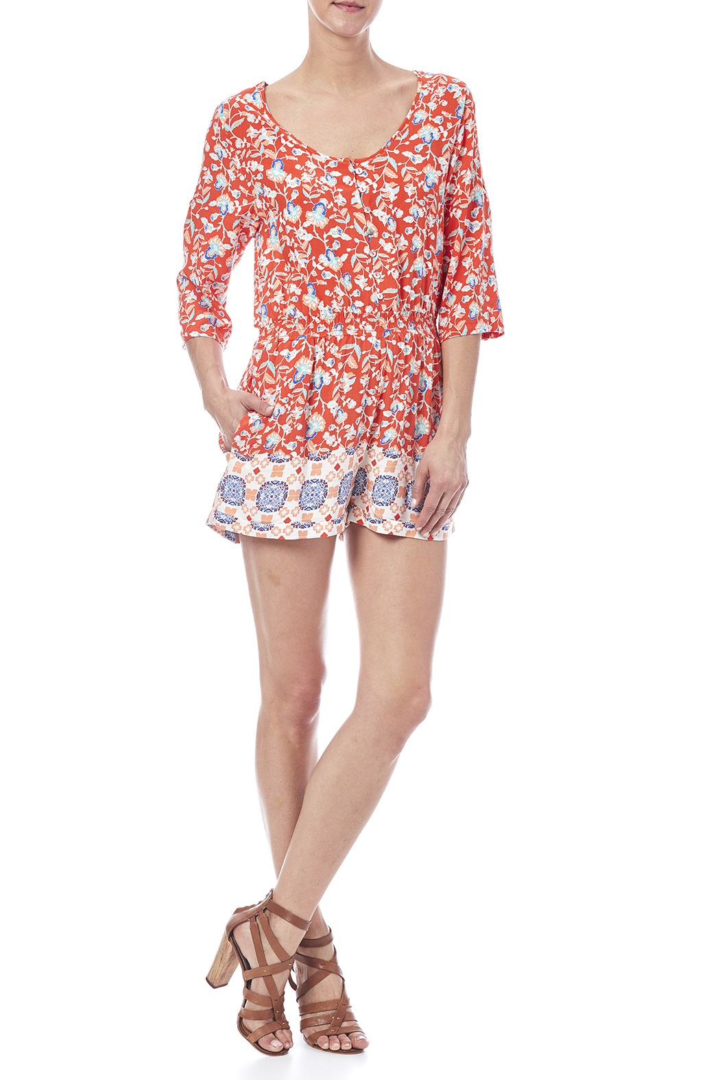 MinkPink Neighborhood Floral Romper - Front Full Image