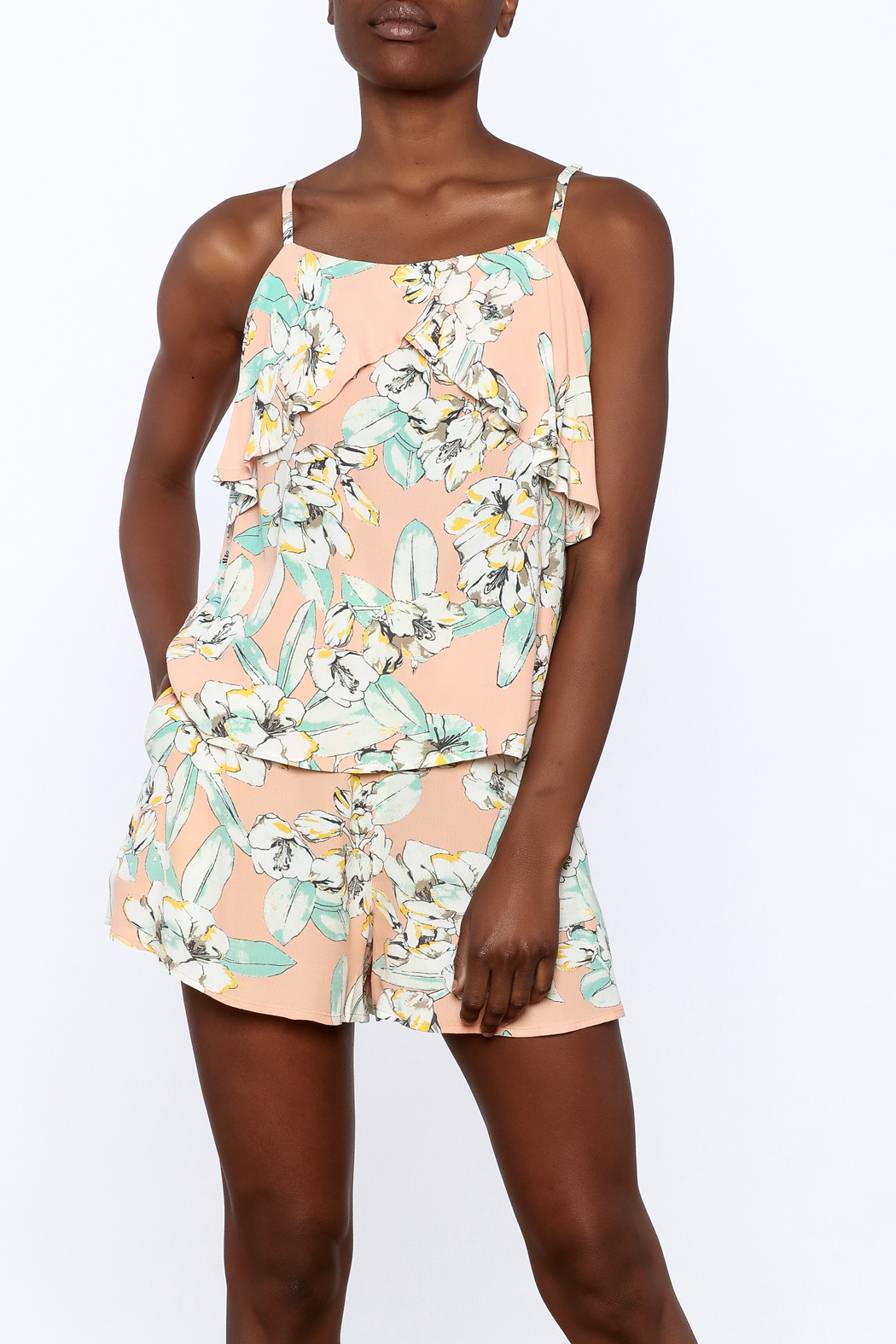 MinkPink Peach Floral Print Top - Front Cropped Image