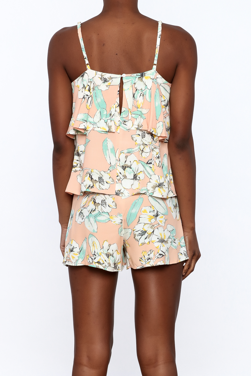 MinkPink Peach Floral Print Top - Back Cropped Image
