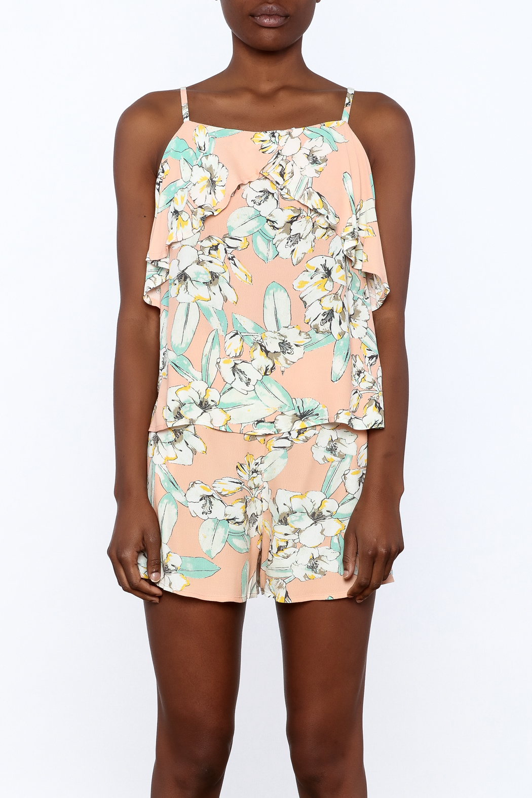 MinkPink Peach Floral Print Top - Side Cropped Image
