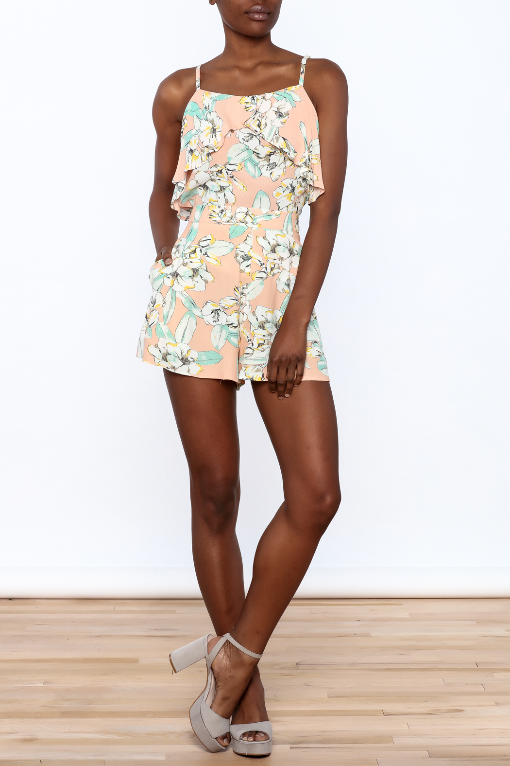 MinkPink Peach Floral Print Short - Front Full Image