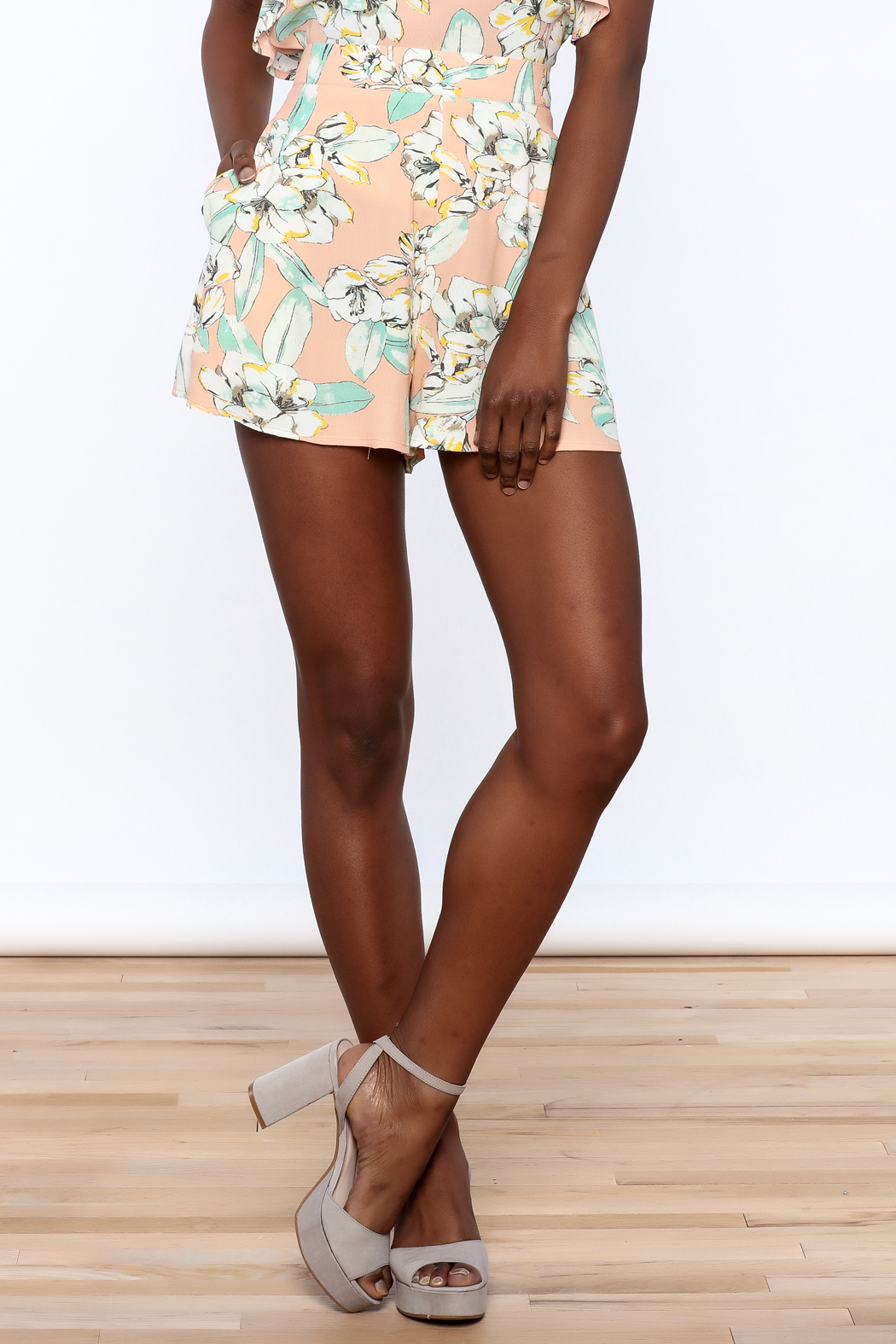 MinkPink Peach Floral Print Short - Front Cropped Image