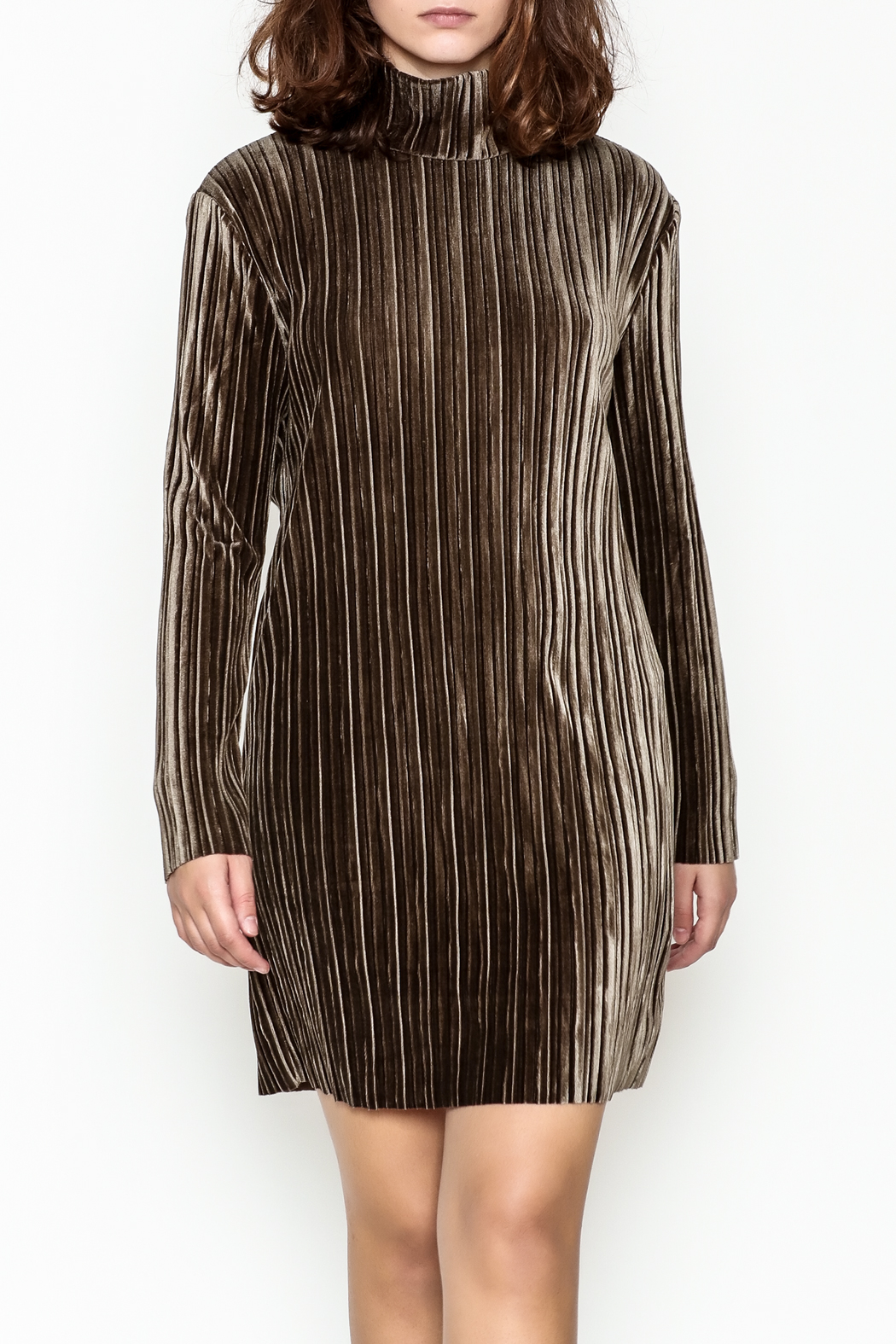 MinkPink Pleated Velvet Dress - Main Image