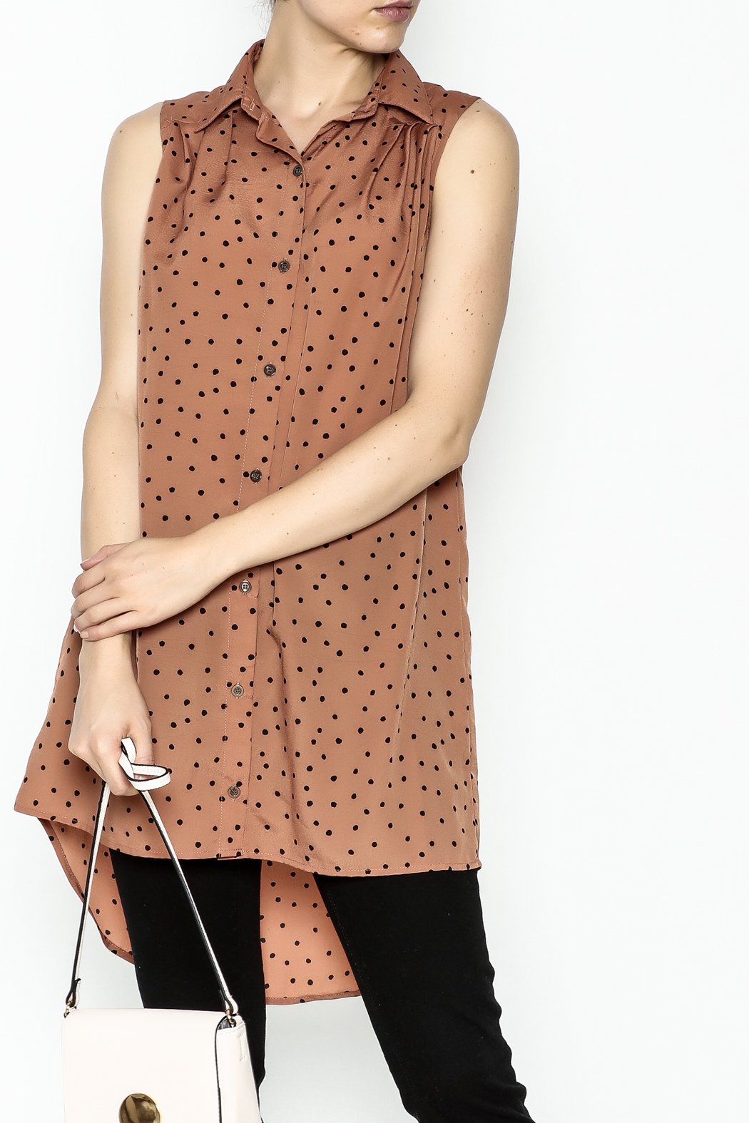 MinkPink Dotted Tunic Dress - Front Cropped Image