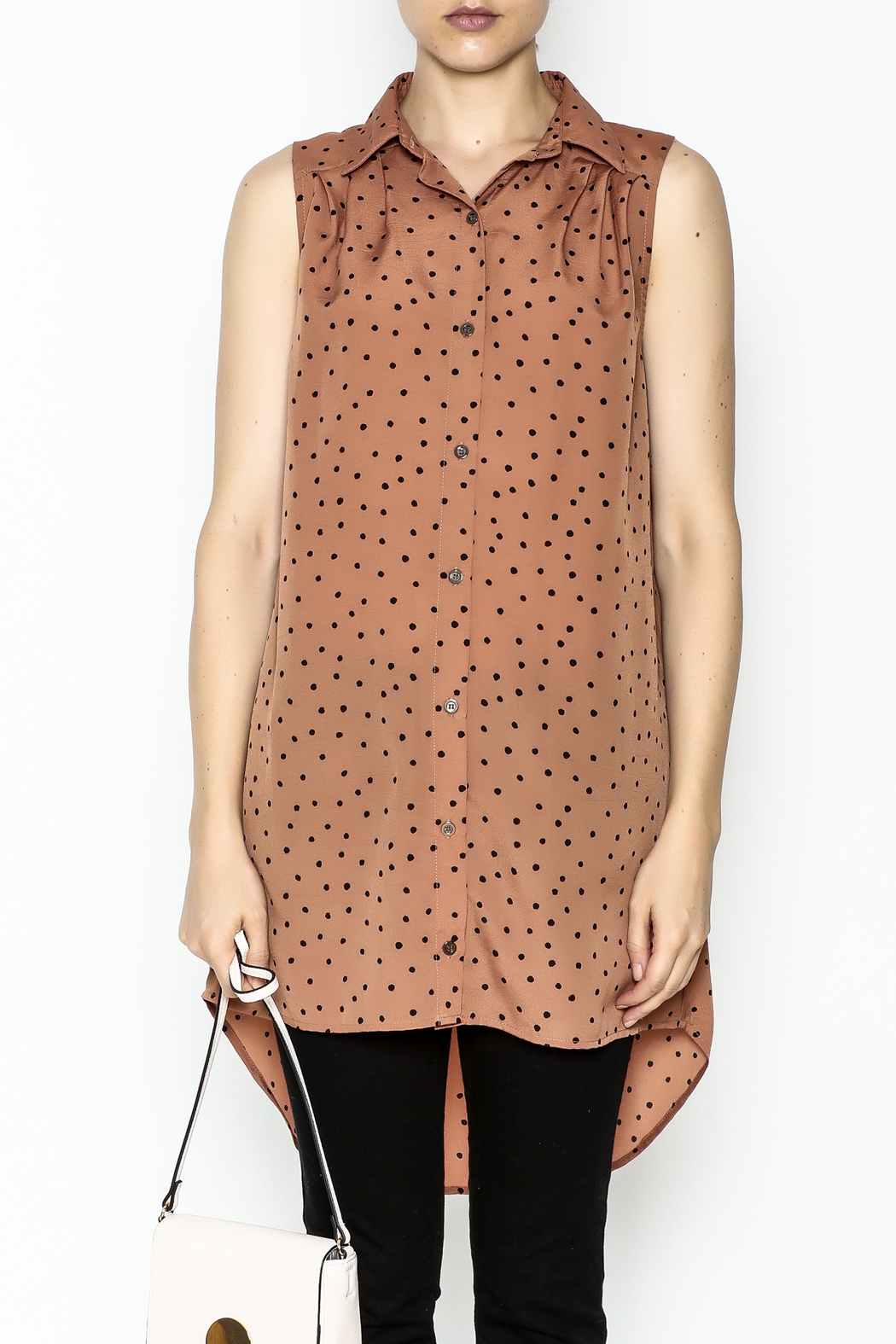MinkPink Dotted Tunic Dress - Front Full Image