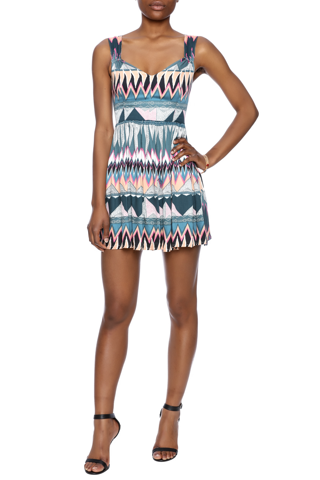 MINKPINK Printed Fit-And-Flare Dress - Front Full Image