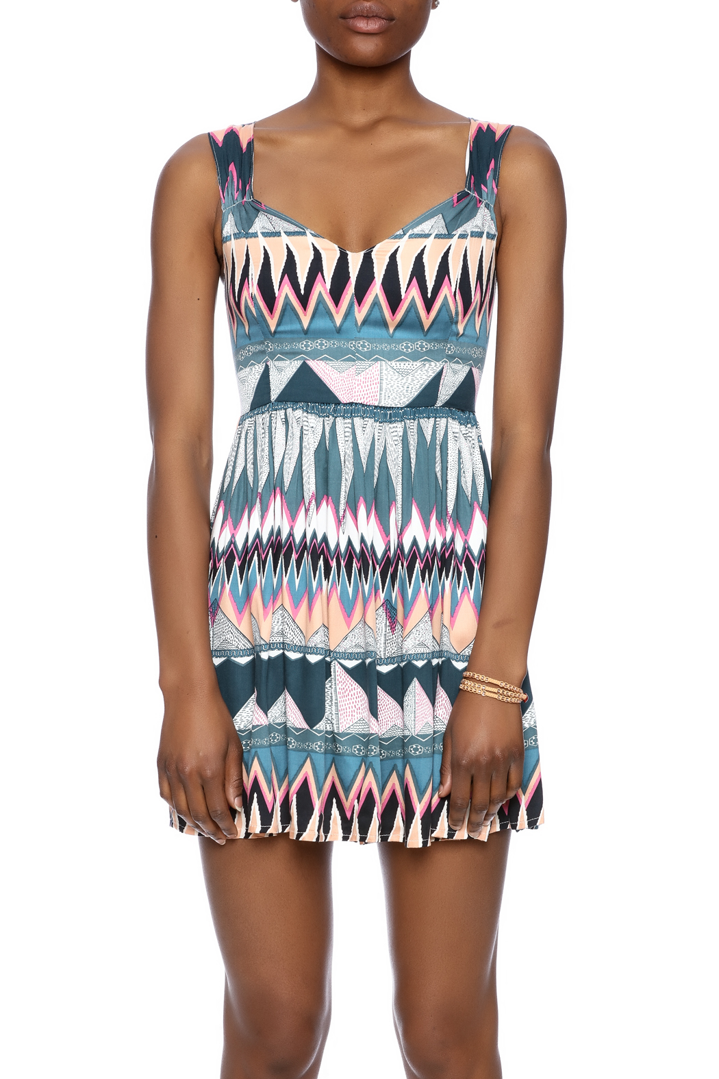 MINKPINK Printed Fit-And-Flare Dress - Side Cropped Image
