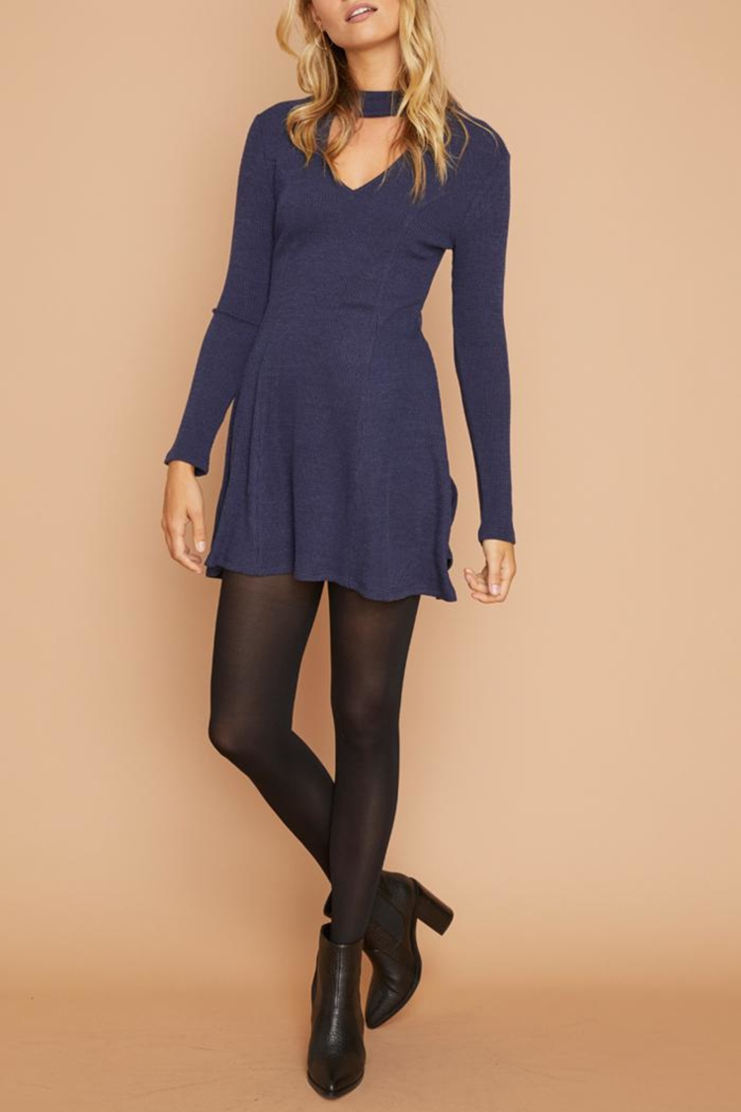 MinkPink Ribbed Keyhole Dress - Front Full Image