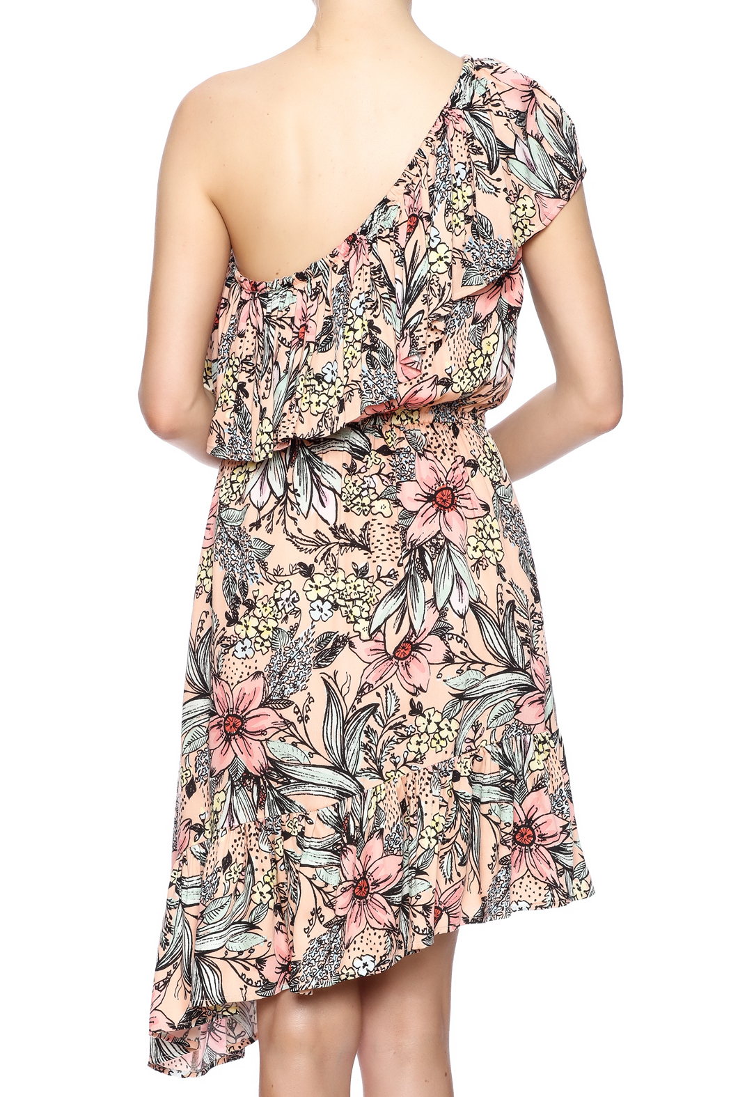 MinkPink Ruffle Shoulder Dress - Back Cropped Image