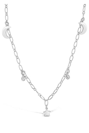 Sterling Sparkling Cz, Star & Moon Chain Necklace - Product Mini Image