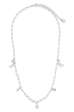 Sterling Sparkling Cz, Star & Moon Chain Necklace - Alternate List Image