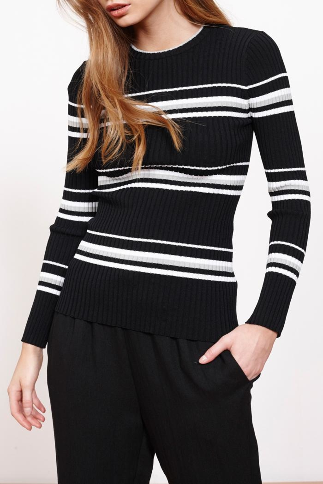 MinkPink Stripe Ribbed Sweater Top from New York by Luna — Shoptiques