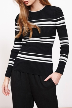 MINKPINK Stripe Ribbed Sweater Top - Product List Image