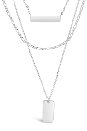 Sterling Triple Layered Bar Necklace - Front cropped