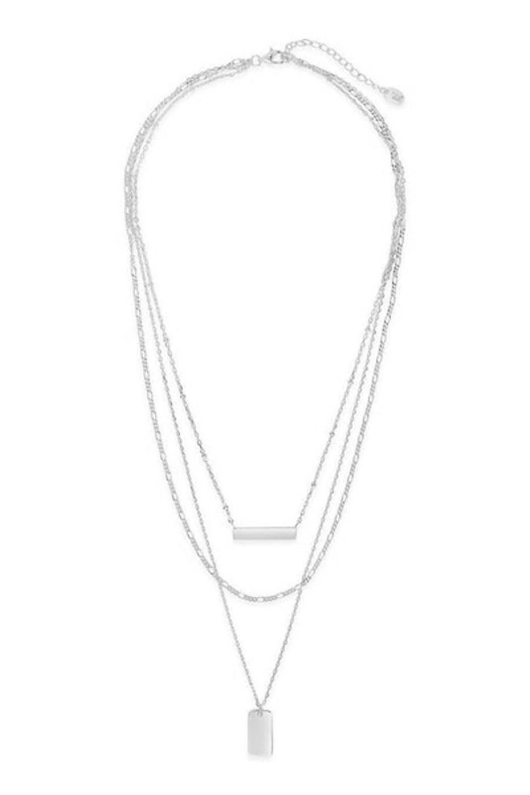 Sterling Triple Layered Bar Necklace - Front Full Image