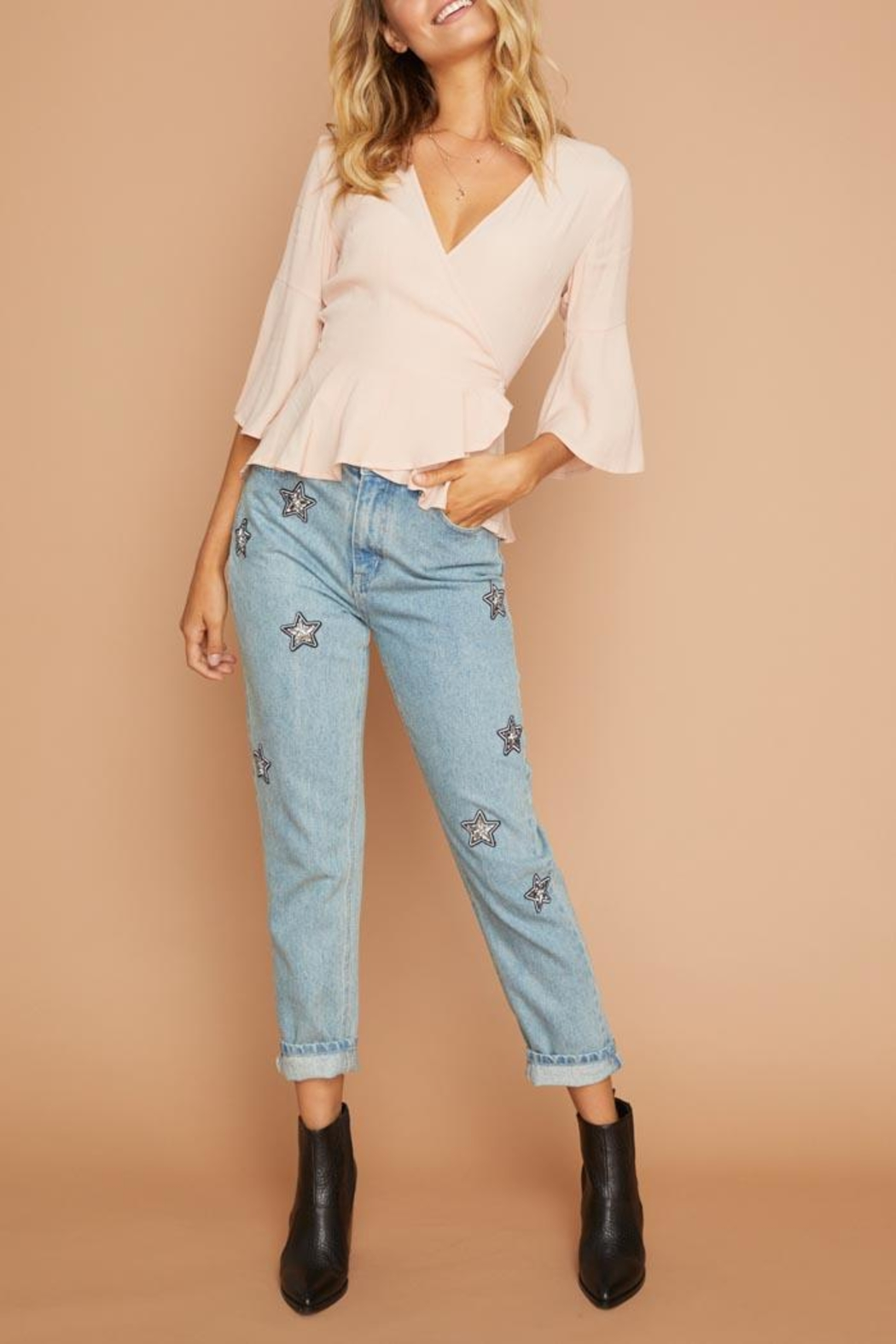 MinkPink Wanderers Wrap Top - Front Full Image