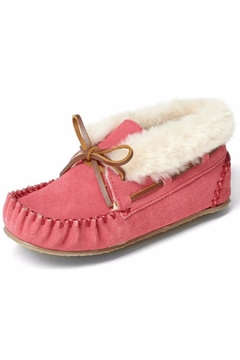 Minnetonka Moccasin Girls Suede Slippers - Alternate List Image