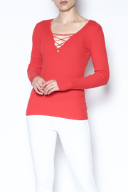 Minnie Rose Coral Lace Up Top - Product Mini Image