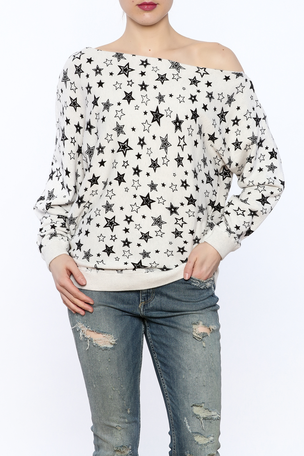 Minnie Rose Off-Shoulder Sweatshirt - Front Cropped Image