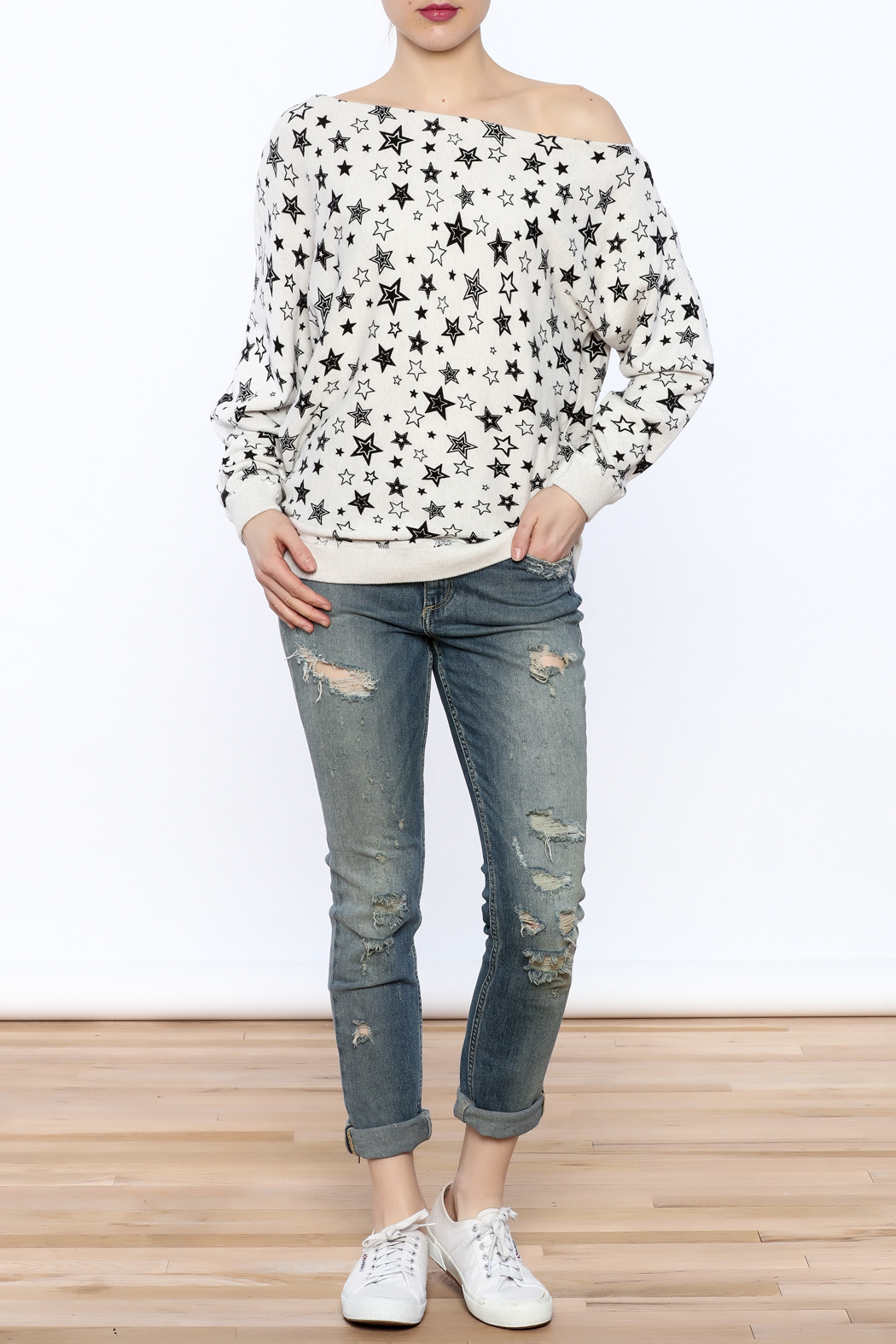 Minnie Rose Off-Shoulder Sweatshirt - Front Full Image