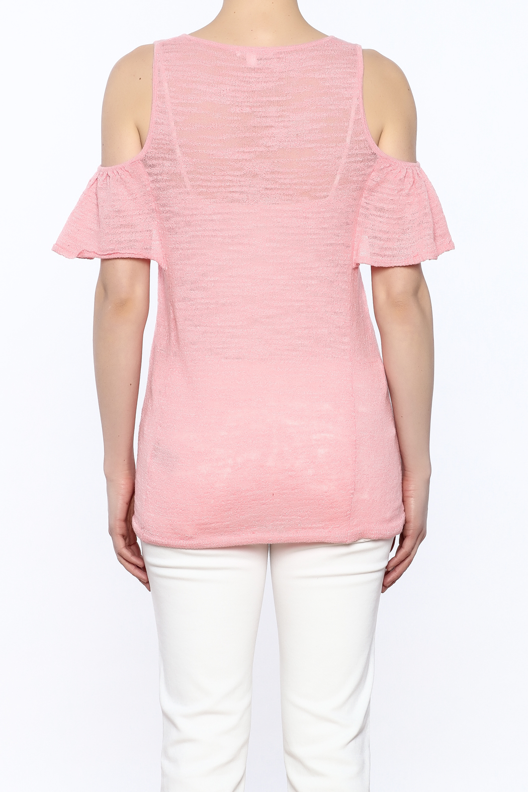 Minnie Rose Pink Cold-Shoulder Top - Back Cropped Image