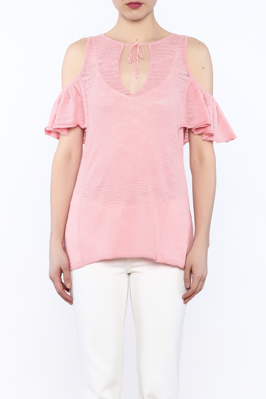 Minnie Rose Pink Cold-Shoulder Top - Side Cropped Image