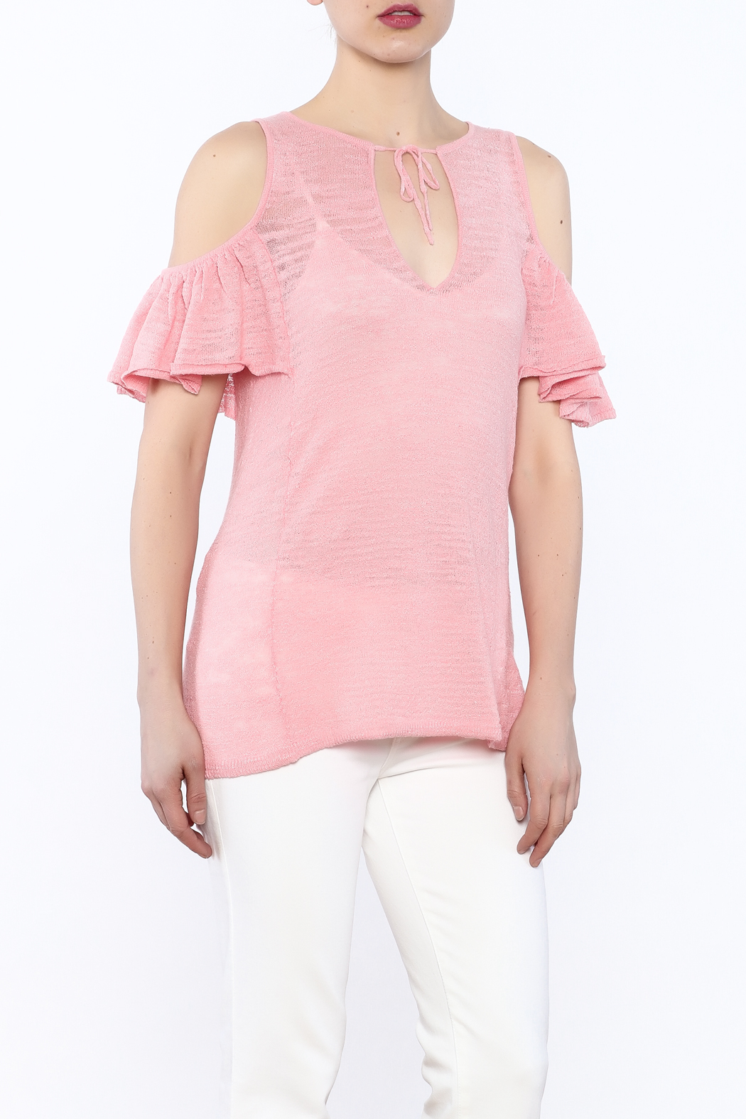 Minnie Rose Pink Cold-Shoulder Top - Main Image
