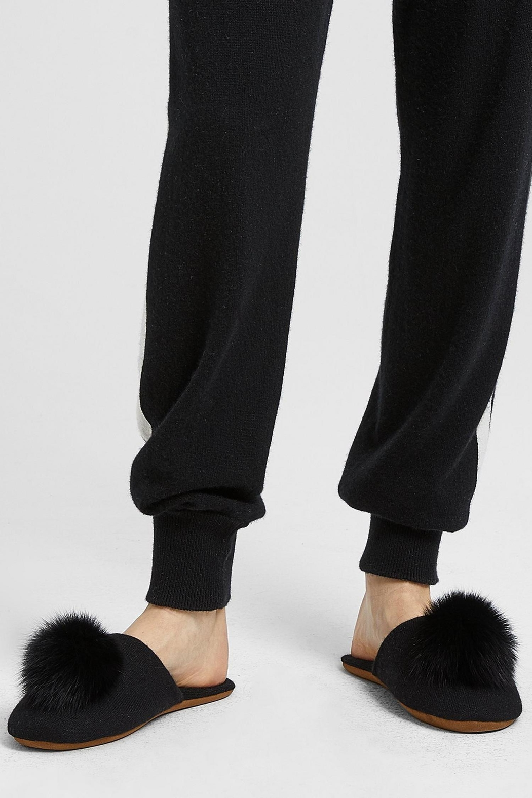 Minnie Rose Cashmere Fox-Fur Slippers - Front Cropped Image