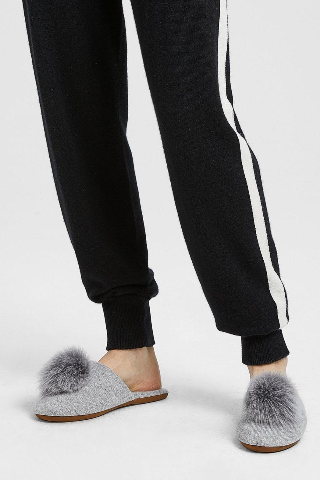 Minnie Rose Cashmere Fox-Fur Slippers - Main Image