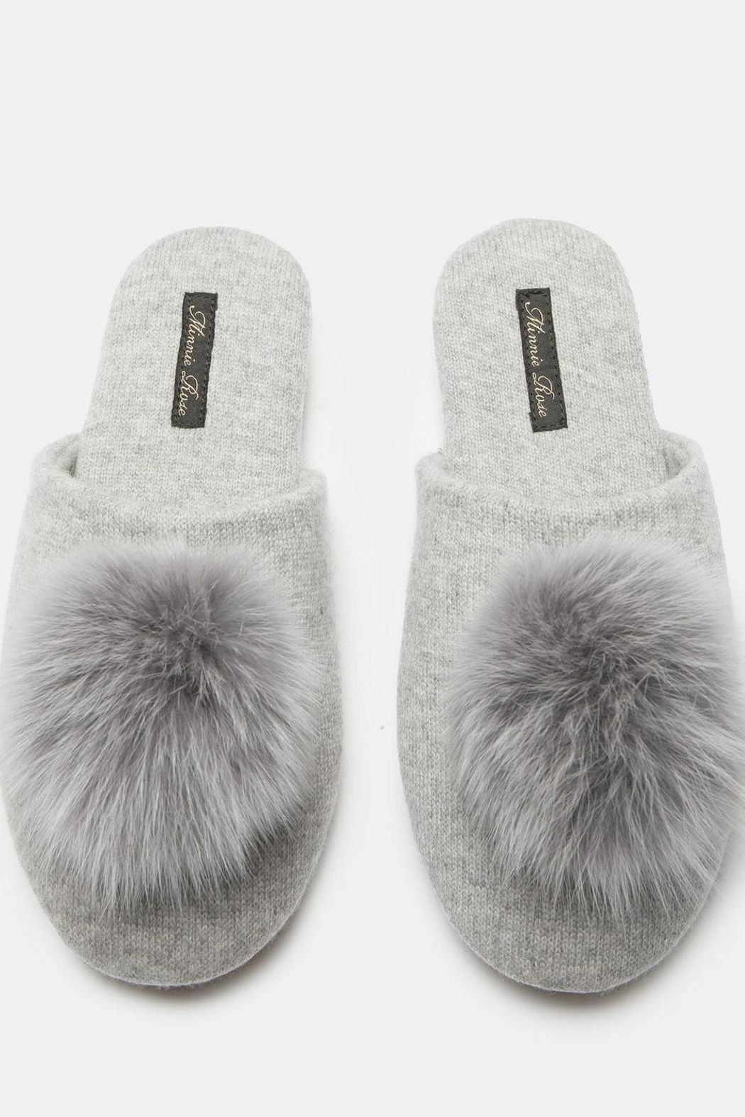 Minnie Rose Cashmere Fox-Fur Slippers - Front Full Image
