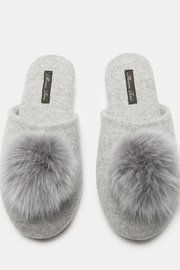 Minnie Rose Cashmere Fox-Fur Slippers - Front full body