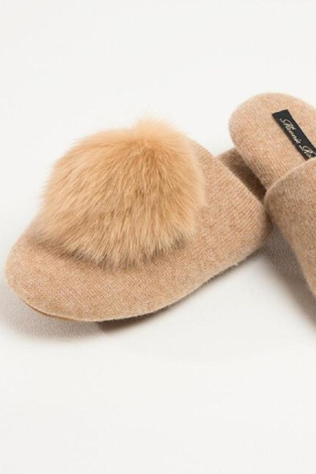 Minnie Rose Cashmere Fox Slippers - Front Cropped Image