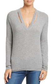 Minnie Rose Grey Cutout Sweater - Front cropped