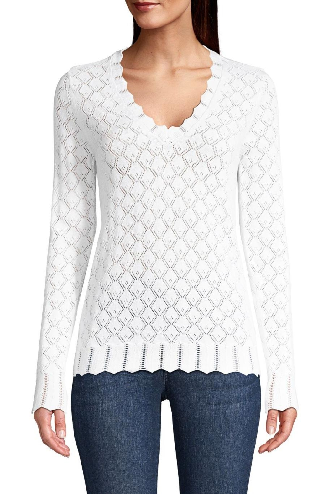 Minnie Rose Pointelle V-Neck Sweater - Main Image