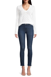 Minnie Rose Pointelle V-Neck Sweater - Back cropped