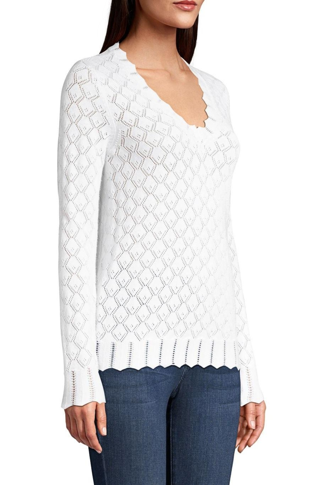 Minnie Rose Pointelle V-Neck Sweater - Front Full Image