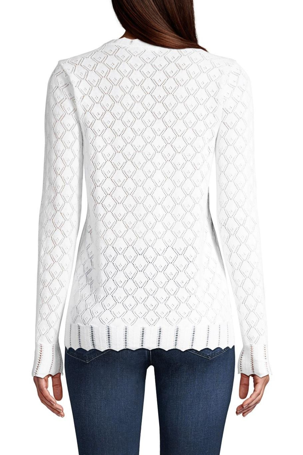 Minnie Rose Pointelle V-Neck Sweater - Side Cropped Image