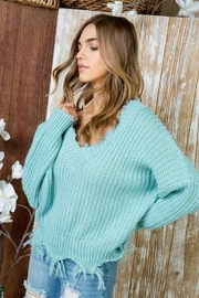 Main Strip Blue Mint Destroyed-Edge Sweater - Product Mini Image