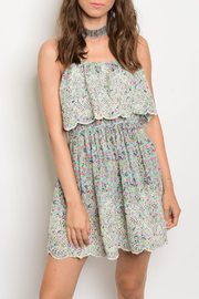 Re-Order Mint Floral Scalloped Dress - Product Mini Image