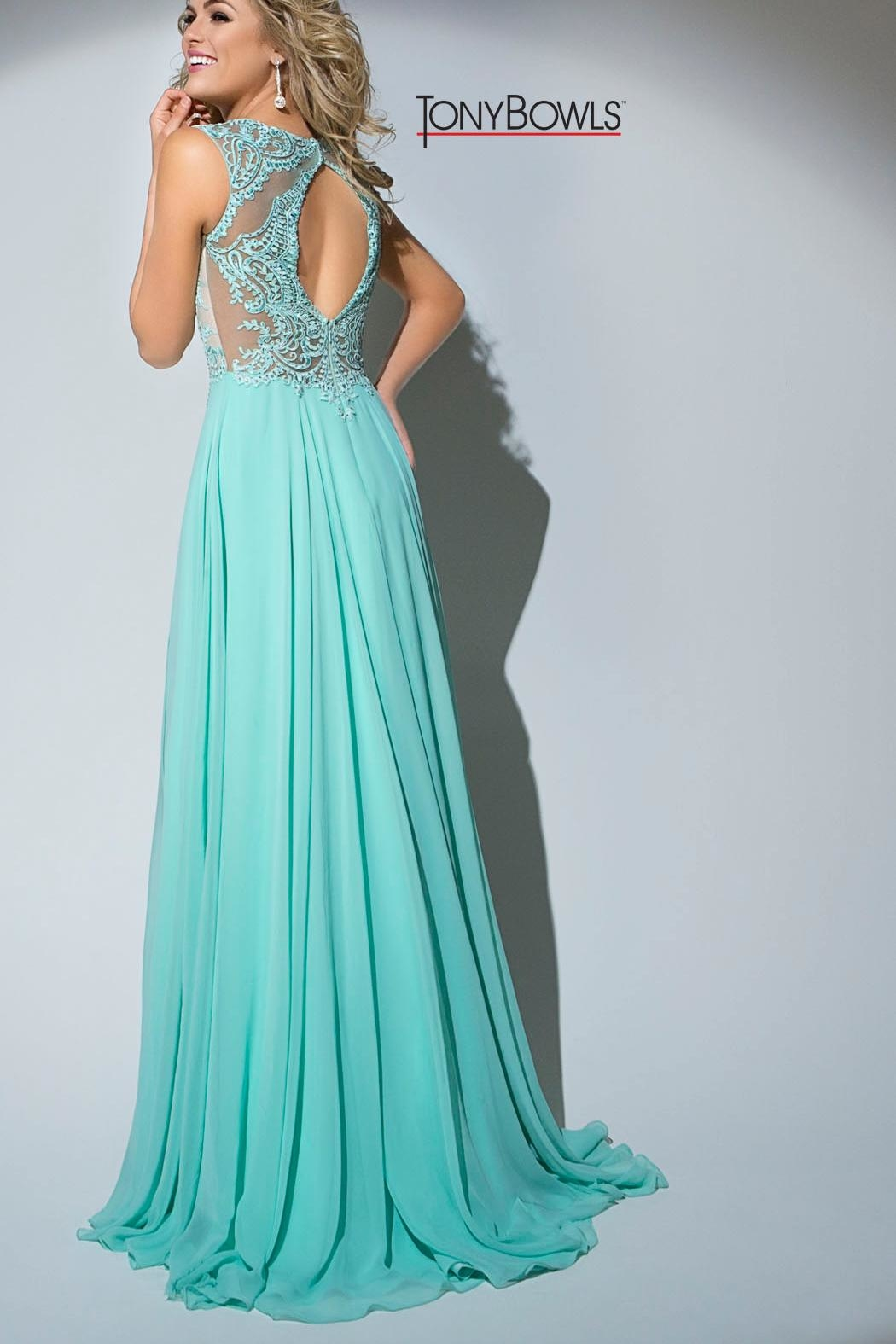 Tony Bowls Mint Green Gown - Front Full Image