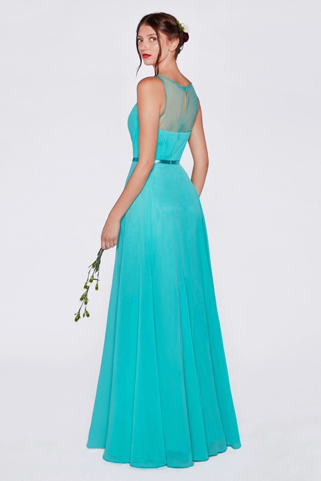 Cinderella Divine Mint Illusion V-Neck Long Formal Dress - Front Full Image