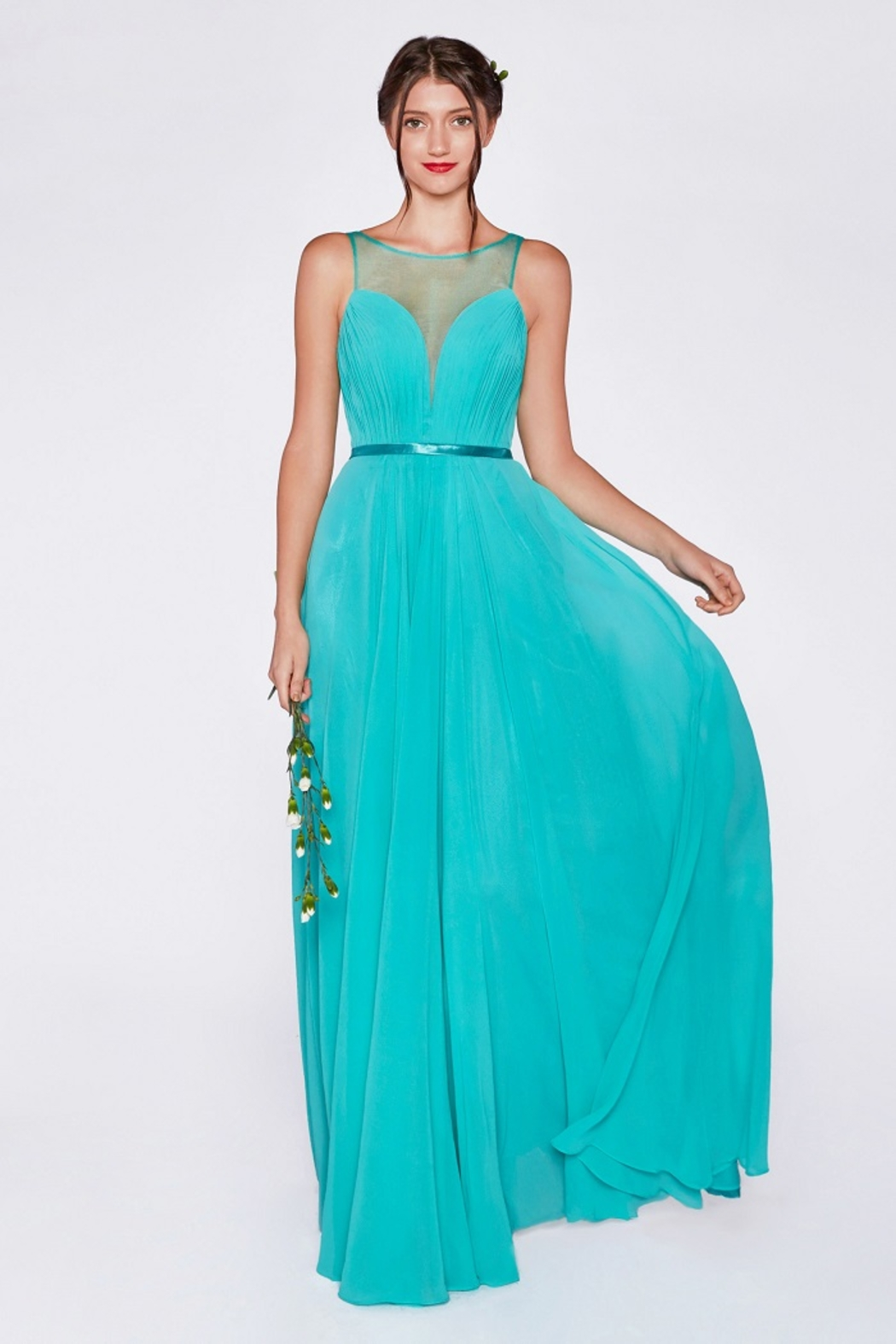 Cinderella Divine Mint Illusion V-Neck Long Formal Dress - Main Image