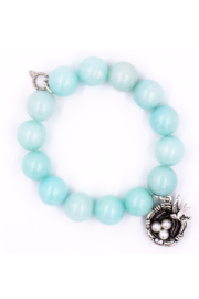 Powerbeads by Jen Mint Jade with Silver Birds Nest - Product Mini Image